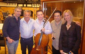 "Composer Dario Marianelli, Dustin Hoffman, Richard, violinist Ralph de Souza, and musician contractor Hilary Skewes after recording the ""Quartet"" score"